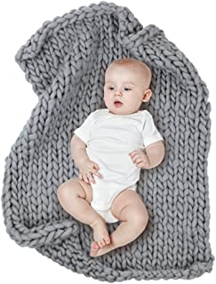 MHJY Baby Chunky Knit Blanket Photo Props Blanket Knitted Infant Photography Backdrop Thick Yarn Blanket Sleeping Blanket for Newborns (Grey (Large))