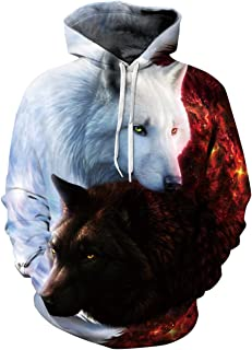 Men's Casual Long Sleeve 3D Digital Print Ice and Fire Wolf Design Lover's Fashion Sports Pullover Hoodies