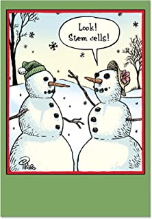 12 Boxed 'Stem Cells' Christmas Cards with Envelopes 4.63 x 6.75 inch, Cute, Funny Snowman Merry Christmas Cards, Happy Holidays with Silly Snowmen Season's Greetings Cards B1986