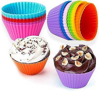 27 pièces Moule Silicone,Moulle muffins,Tasses en papier à Moulle Cupcakes, moulle silicone patisserie en 9 couleurs, Pour...