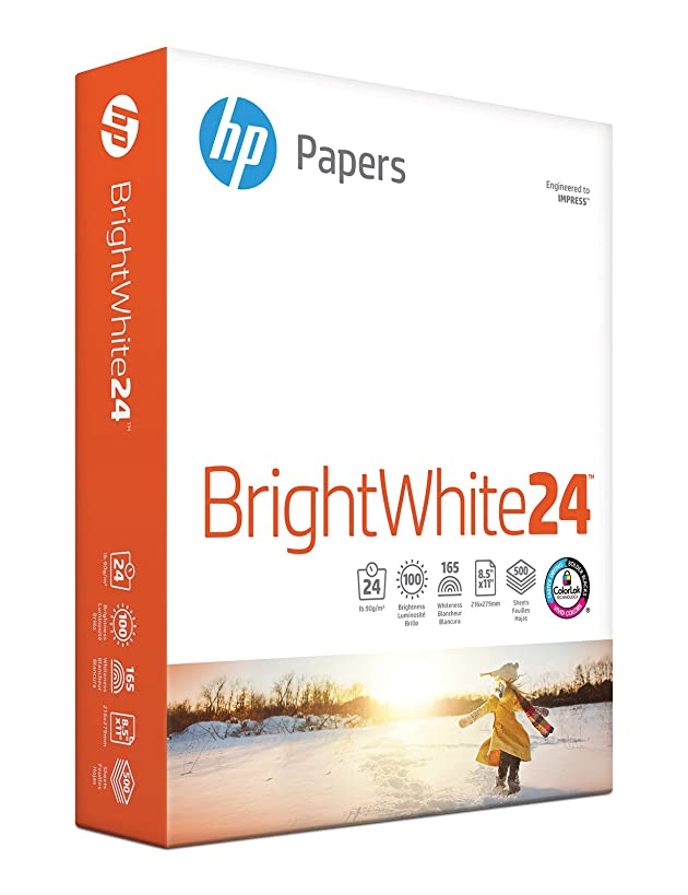 HP Printer Paper, BrightWhite24, 8.5 x 11 Paper, Letter Size, 24lb Paper, 97 Bright, 500 Sheets / 1 Ream (203000R), Acid Free Paper