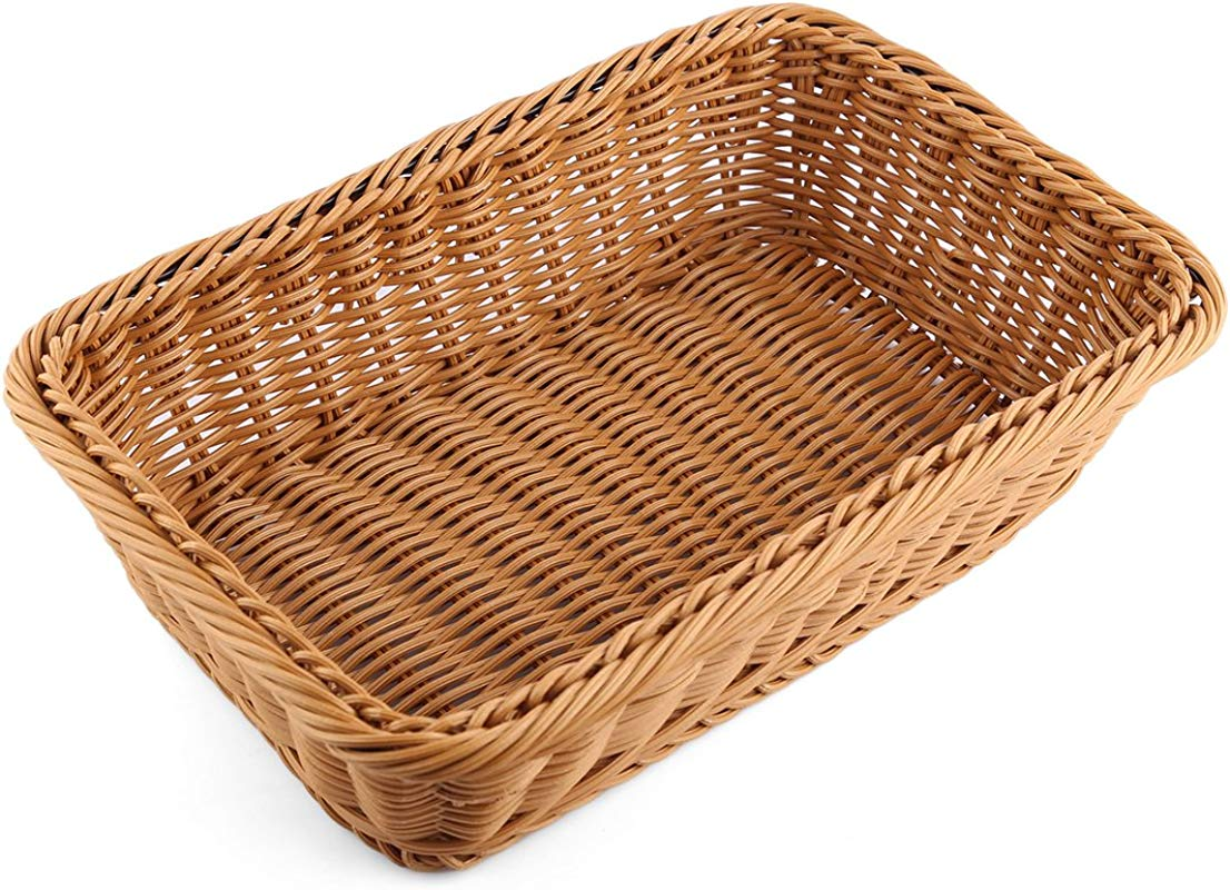 Bread Basket Yamix Rectangle Imitation Rattan Bread Basket Food Serving Baskets Restaurant Serving Diplay Baskets For Fruit Food Vegetables Dark Brown