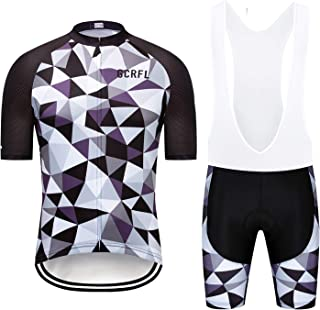 GCRFL Men's Short Sleeves Cycling Jersey Set Road Bike Jersye Cycling Shirt + Bib Shorts with 3D Gel Padded