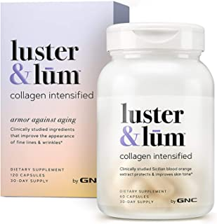 Luster & Lum by GNC Collagen Intensified, Promotes Skin Elasticity & Smoothness, Improves Skin Tone, Gluten-Free, 120 Caps...