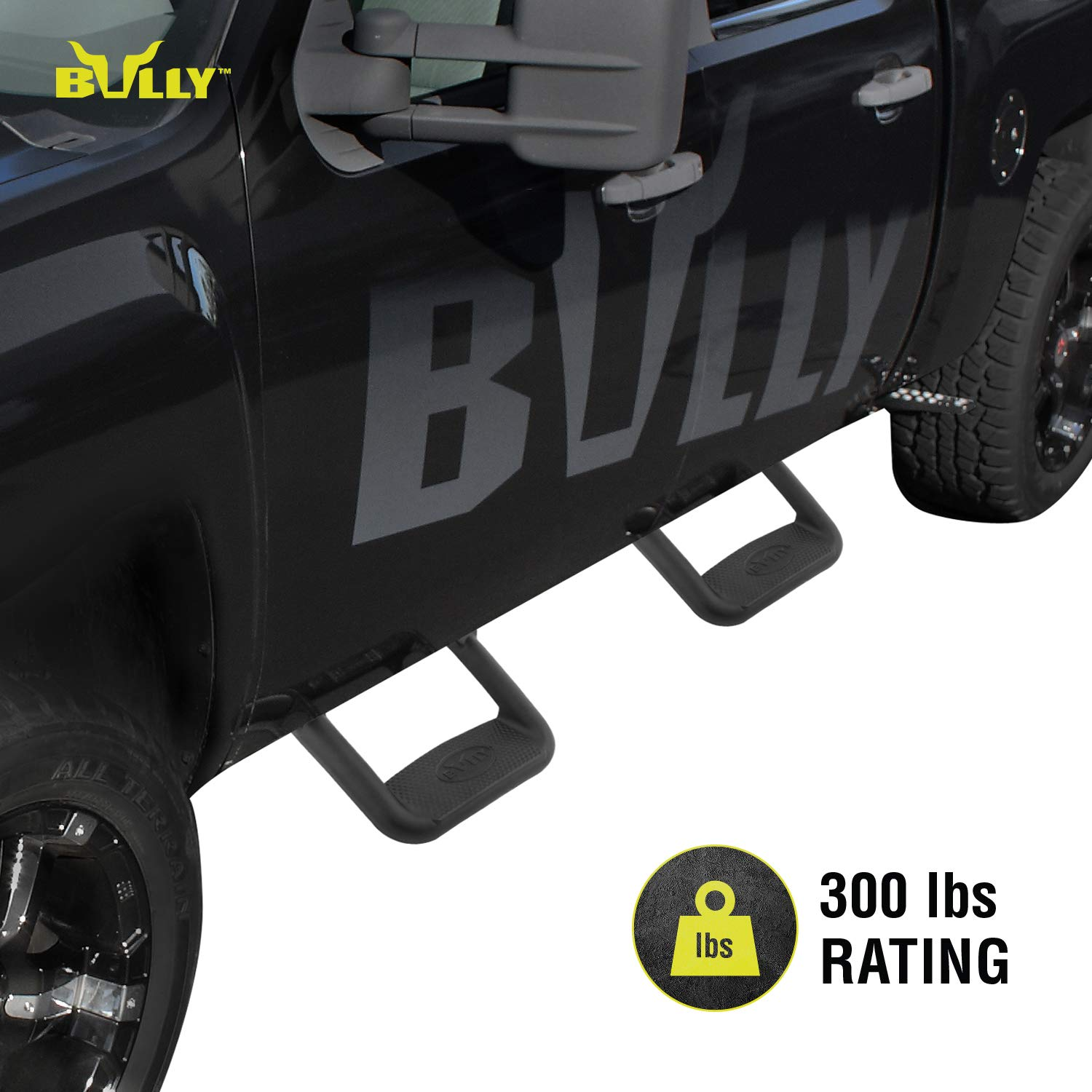 Bully BBS-1103 Truck Black Powder Coated Side Step Set, 2 Pieces (1 Pair), Includes Mounting Brackets - Fits Various Trucks from Chevy (Chevrolet), Ford, Toyota, GMC, Dodge RAM and Jeep