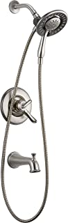 Delta Faucet Linden 17 Series Dual-Function Tub and Shower Trim Kit with 2-Spray In2ition 2-in-1 Hand Held Shower Head with Hose, Stainless T17494-SS-I (Valve Not Included)