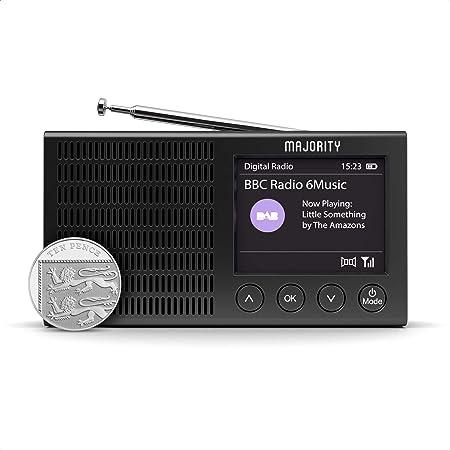 MAJORITY Eddington Portable DAB Radio with Bluetooth | DAB/DAB+ & FM Radio | 20 Presets | USB Powered | Rechargeable Battery & Mains Powered