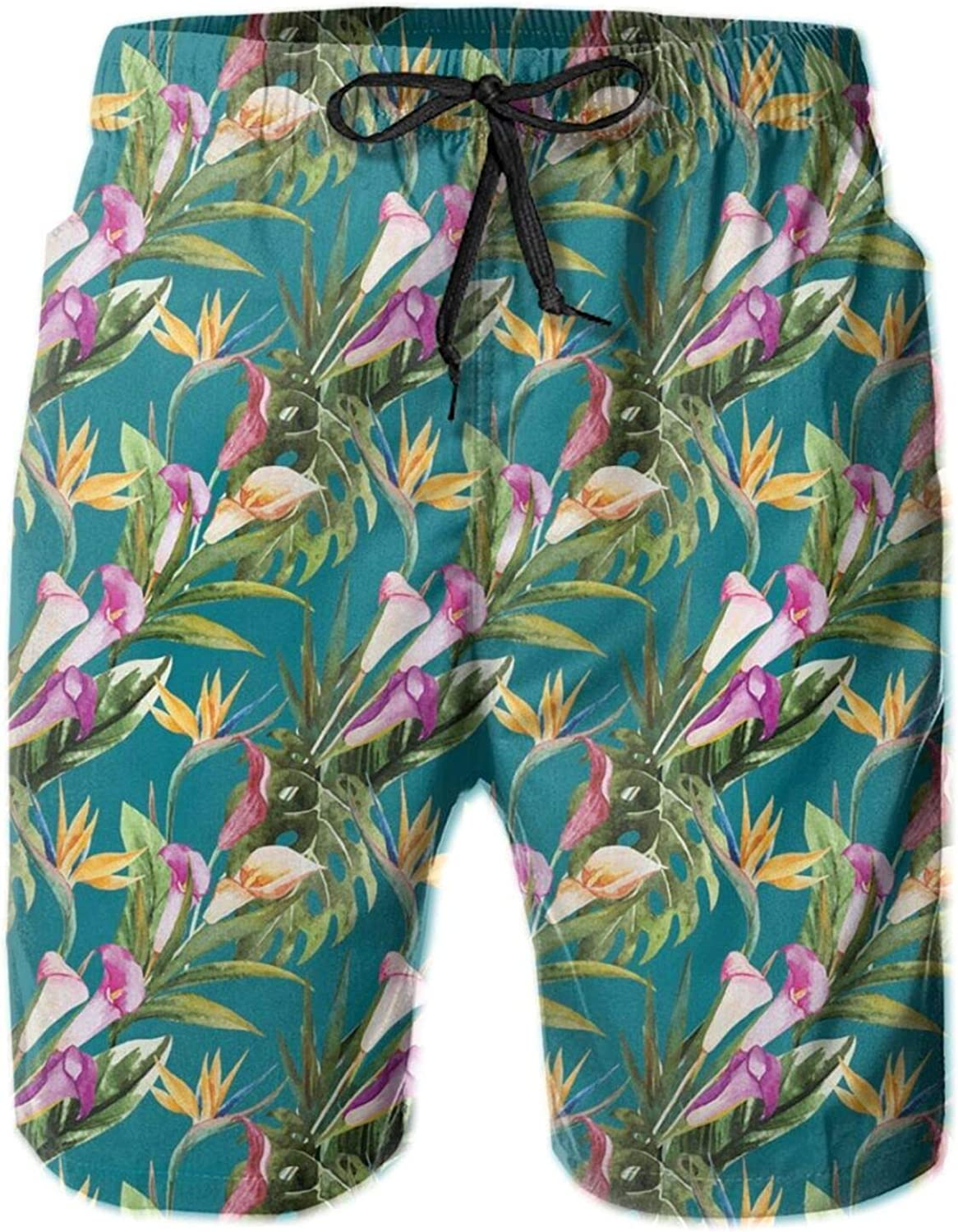 Exotic Lilies and Birds of Paradise Flowers in Watercolors On A Blue Background Drawstring Waist Beach Shorts for Men Swim Trucks Board Shorts with Mesh Lining,L