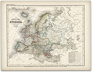 1843 German Map of Europe - 11x14 Unframed Art Print - Great Vintage Home Decor, Also Makes a Great Gift Under $15