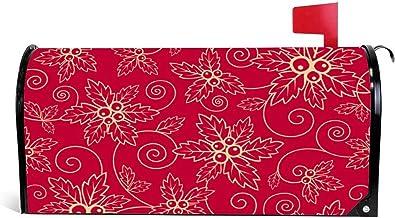 happygoluck1y Kerst Patroon Rode Brievenbus Cover Magnetische Seizoensgebonden Kerst Winter Mailbox Wrap Cover Tuin Yard D...