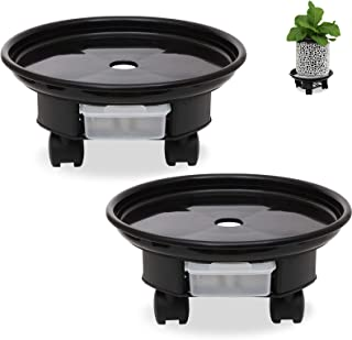 2 Pack Plant Caddy with Wheels 9 Inch Planter Tray Coaster Rolling Casters Plant Saucer with Locking for Indoor & Outdoor,...