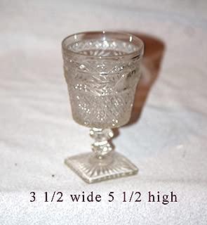 Vintage Indiana Colony Olive Green Glass Square Pedestal Base Park Lane Pattern Water Wine Goblet