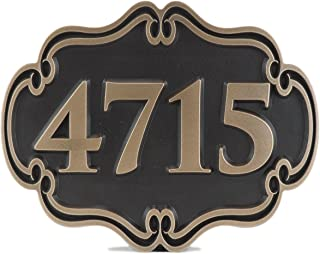Atlas Signs and Plaques Victorian Style Address Plaque 12x9.5 - Made in USA - Raised Bronze Patina Metal Coated Sign