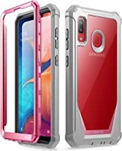 Galaxy A20 Rugged Clear Case, Galaxy A30 Case, Poetic Full-Body Hybrid Shockproof Bumper Cover, Built-in-Screen Protector, Guardian Series, Case for Samsung Galaxy A20 / Galaxy A30, Pink/Clear