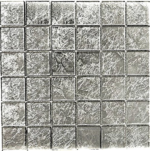 Mosaik Fliese Transluzent Glasmosaik Crystal silber Struktur für WAND BAD WC DUSCHE KÜCHE FLIESENSPIEGEL THEKENVERKLEIDUNG BADEWANNENVERKLEIDUNG Mosaikmatte Mosaikplatte
