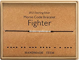 Fighter Morse Code Bracelet Sterling Silver Beads on Silk Cord Friendship Bracelet Gift for Her