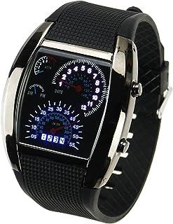 Cool Car Meter Dial Unisex Blue Flash Dot Matrix LED Racing Watch
