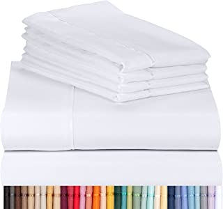 "LuxClub 6 PC Sheet Set Bamboo Sheets Deep Pockets 18\"" Eco Friendly Wrinkle Free Sheets Hypoallergenic Anti-Bacteria Machi..."