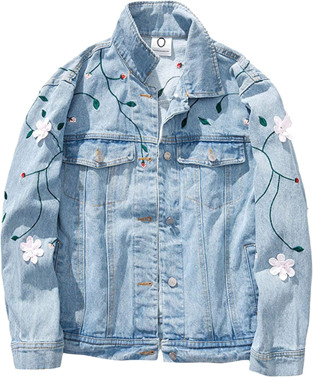 Flygo Women's Casual Embroidered Floral Denim Jacket Loose Long Sleeve Basic Jean Coat