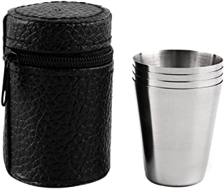 Set of 4 Stainless Steel Cover Mug Camping Cup Mug Drinking Coffee Tea Beer With Case Ideal for Camping Holiday Picnic-Silver
