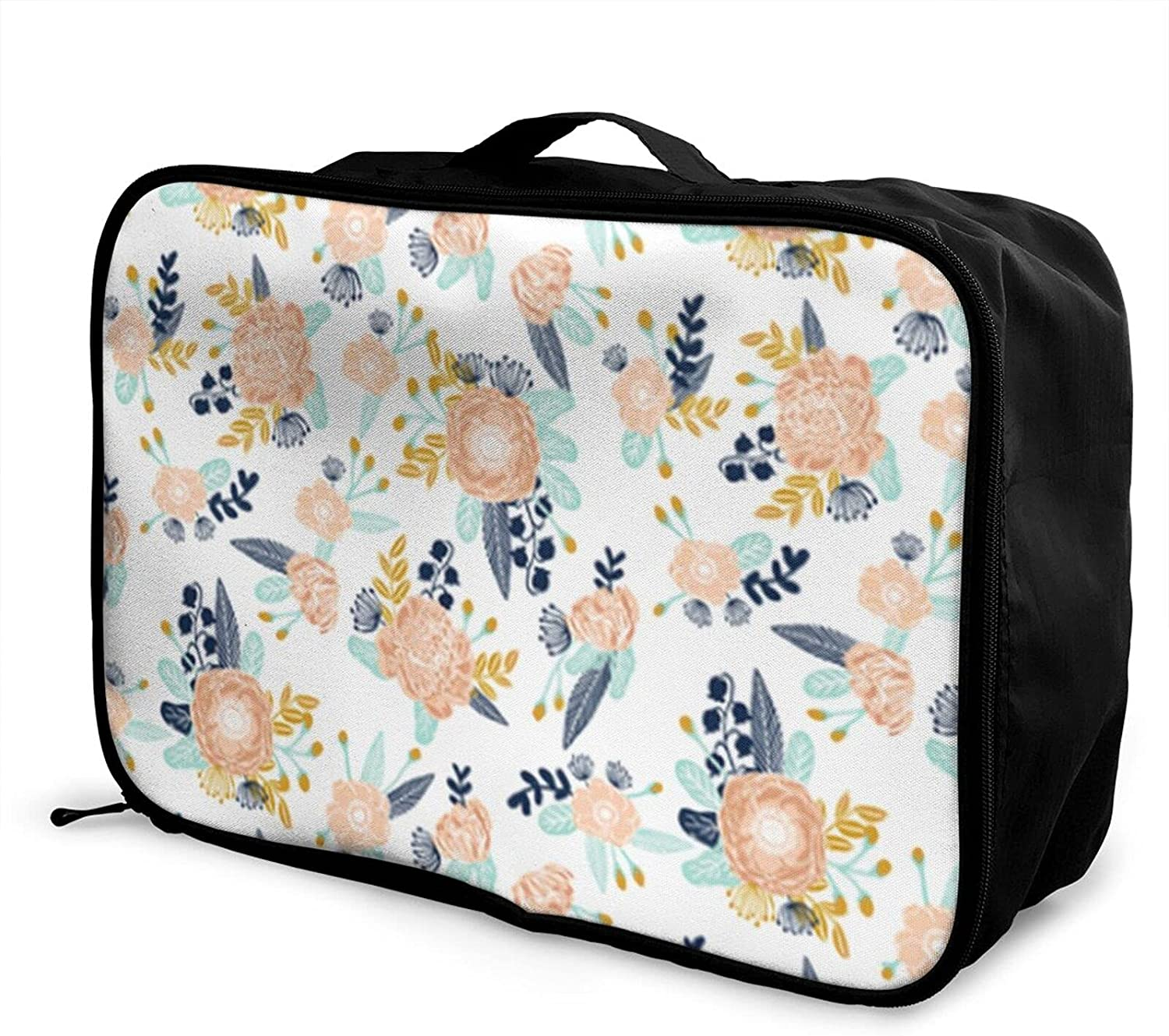 Foldable Travel Bag Tote Albuquerque Mall Florals Very popular Blue Peach Carry-On Navy D