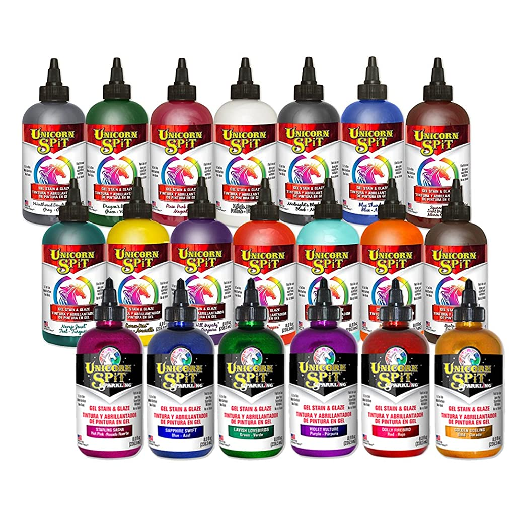 Unicorn SPiT - Gel Stain & Glaze - 20 Complete Paint Collection - 8oz Original and Sparkle Collection