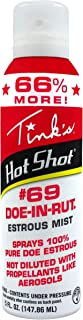 TINK'S Hot Shot #69 Doe-in-Rut Estrous Mist   5 Fl Oz Spray Bottle   Deer Attractant, Hunting Accessories, 100% Natural Doe Estrus, Deer Scent   Powerful Fine Mist   Secure Locking Cap