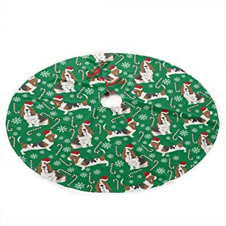 NGFF Basset Hound Candy Canes Snowflakes Traditional Christmas Tree Skirt Santa & Reindeer Tree Ornaments Tree Skirt for Christmas Decoration
