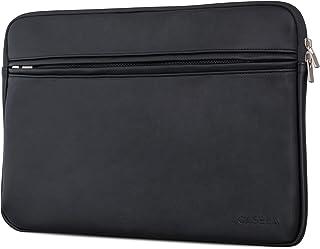 laptophülle 13 zoll leder CASEZA Boston MacBook Air 13 & Pro 13 Kunstleder Hülle Schwarz - Edle PU Leder Tasche Sleeve für 13 Zoll Laptop/Notebook - Laptoptasche passt auch für das Microsoft Surface Book - Weich gepolstert