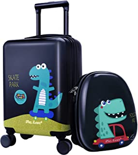 "18""Kids Dinosaur Luggage, Hard Shell Travel Carry On Suitcase for Boys Children"