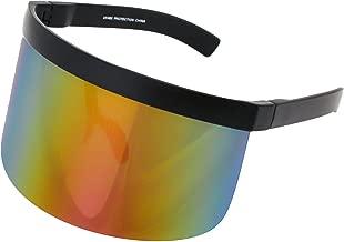 Elite Futuristic Oversize Shield Visor Sunglasses Flat Top Mirrored Mono Lens 172mm