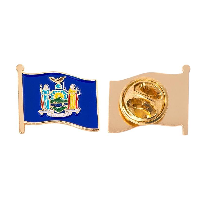 New York NY State Flag Lapel Pin Enamel Made of Metal Souvenir Hat Men Women Patriotic New Yorker (Waving Flag Lapel Pin)