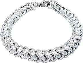 ParticolarModa Bracciale intrecciato per donna in alluminio e acciaio Dorato Argentato 7 mm