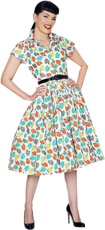 Bernie Dexter Pinup Mari Dress in Pretty Palette Print Artist and Retro Inspired