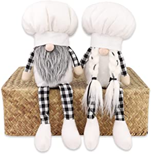 Kitchen Chef Gnomes Decorations Set Couples Gifts Farmhouse Home Decoration Handmade Gnome Decor Plush Gifts for Couples Household Ornaments Set of Two (2 Pieces)