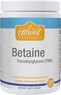 Betaine TMG (Trimethylglycine) Powder - Supporting Normal Homocysteine Levels & Cardiovascular Health - 500 Grams - Harves...