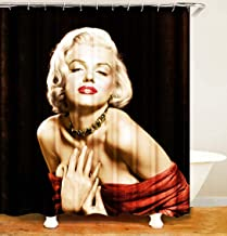 JCBD Marilyn Monroe Black White Extra Long Wide Shower Curtains Movie Star Vintage Nostalgic Poster Tan Bathroom Curtains Decor Polyester Fabric Quick Drying
