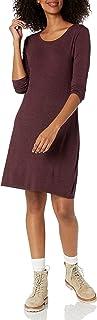 Daily Ritual Jersey 3/4 Manga Cuello Redondo T-Shirt Vestido Vestido Informal para Mujer