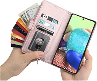 Cavor for Samsung Galaxy A71 4G Case,PU Leather Zip Pocket Wallet Flip Cover Case Magnetic Closure Book Design with Kickst...