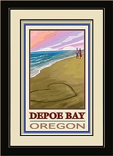 Northwest Art Mall Depoe Bay Oregon Love on Coast Framed Wall Art by Joanne Kollman, 13 by 16-Inch