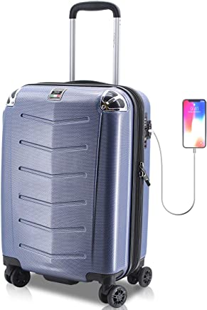 Villagio Hardshell Luggage 21 Inch - USB Port Polycarbonate 8 Wheel Spinner with Slash Proof Zipper