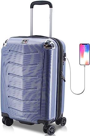 Villagio Hardshell Luggage 21 Inch - USB Port Polycarbonate 8 Wheel Spinner with Slash Proof Zipper