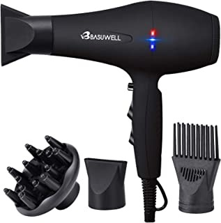 Basuwell 1875W Hair Dryer, Professional Ionic Salon Hair Blow Dryer for Faster Drying, 2 Speed 3 Heat Cool Shot Setting AC Motor Blow Dryer with Diffuser, Concentrator, Comb (black)