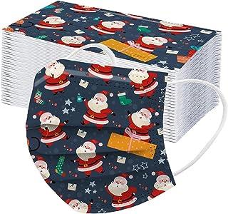RUITOTP 50/100pc Weihnachten Unisex Erwachsenen Schutz Frauen Männer Einweg Universal süße Weihnachten gedruckt atmungsakt...