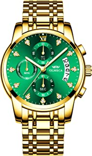 OLMECA Men's Watches Luxury Sports Casual Quartz Wristwatches Waterproof Chronograph Calendar Date Stainless Steel Band Green Color 827-QJLVgd