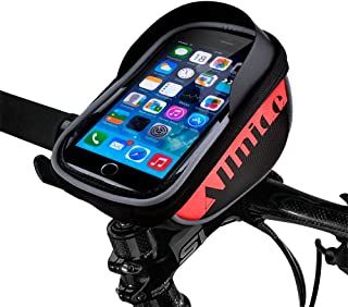 Allnice Bike Bag, Waterproof Touch Screen Bike Handlebar Bag Mountain Road MTB Bicycle Front Phone Frame Bag Holder iPhone 7 Plus 6s 6 Plus/Samsung Galaxy Note 2 Cellphone Below 5.5Inch (Red)