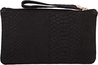 Womens Small Soft Leather Clutch Bag/Purse with Textile Design