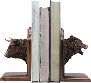 Ebros Wall Street Stock Market Bull and Bear Head Bookends Statue Set in Bronze Electroplated Resin Finish Investors Money Managers Stock Exchange Professionals Bulls VS Bears Animal Decor Figurine