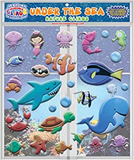 Under the Sea Ocean by Incredible Gel and Window Clings for Kids and Toddlers (27 pc) - CPSC Tested Certified Safe Foam Puffy Stickers - Underwater, Turtle, Mermaid, Shark, Whale, Octopus, Fish