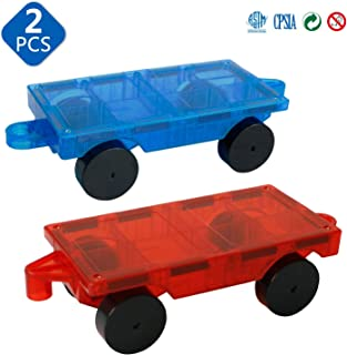 Magblock 2 Pieces Car Truck Chassis Wheel Set Compatible with Magnetic Tiles Magnet Toys for Kids Toddlers Preschool Gift Toys